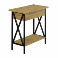 Tucson Flip Top End Table with Charging Station in Light Oak Wood Finish - 1