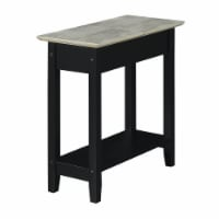 American Heritage Flip Top End Table with Charging Station in Black Wood Finish - 1