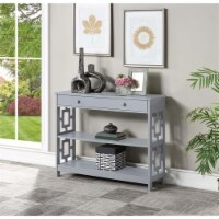 Convenience Concepts Town Square One-Drawer Console Table in Gray Wood Finish - 1
