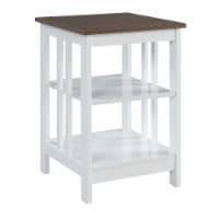 Convenience Concepts Mission End Table in White Wood with Driftwood Top - 1