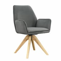 Convenience Concepts Miranda Swivel Accent Chair in Gray Velvet/Natural Wood - 1