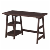 Designs2Go Trestle Desk with Charging Station in Espresso Wood Finish - 1