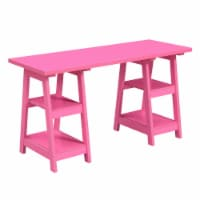 Convenience Concepts Designs2Go Double Trestle Desk in Pink Wood Finish - 1