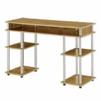 Designs2Go No Tools Student Desk with Shelves in Light Oak Wood Finish - 1
