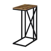 Convenience Concepts Tucson C End Table in Nutmeg Wood Finish and X Metal Frame - 1