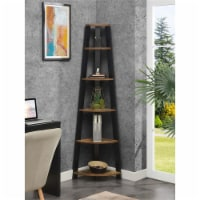 Newport Five-Tier Corner Bookshelf in Nutmeg Wood Finish with Black Wood Frame - 1