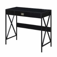 Convenience Concepts Tucson 36-inch Desk with Charging Station in Black Wood - 1