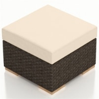Harmonia Living Arden Patio Ottoman in Canvas Flax and Chestnut - 1