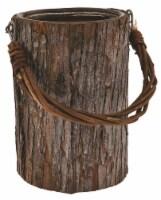 White Wash Bark Wrap Vase With Handle