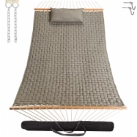 Large Soft Weave Hammock with Pillow & Storage Bag - Flax