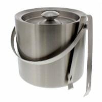 Stainless Steel Ice Bucket - Portable Double Wall Ice Bucket with Tong, Barware