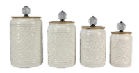 Ceramic 4PC. Cannister Set W/Crystal Handles