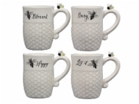 Ceramic Bee Mugs 4 Piece Set