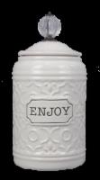 Ceramic Cookie Jar w/Crystal Handle