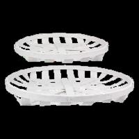Wood Round Basket 2 Piece Set White