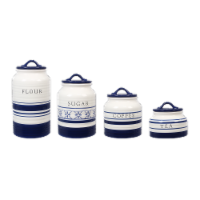 Ceramic Blue and White 4 PC.  Cannister Set