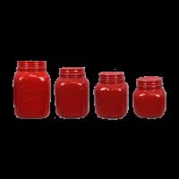 Ceramic Red Mason Jar 4 PC. Cannister Set - 1 set of 4