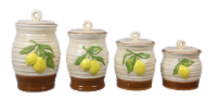 Ceramic Lemons 4 PC. Cannister Set