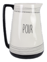 Ceramic Black and White Water Pitcher - Pour