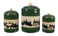 Stoneware Bear/Lodge 3 PC. Cannister Set