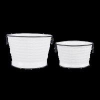 Tin Basket Weave Pattern Bucket 2 PC. Set