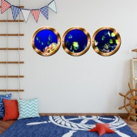 VWAQ Pack of 3 Underwater Fish Peel and Stick Silver Window Porthole Wall Decals - SPW18 - 1