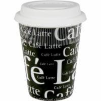 Konitz 44 5 162 4947 Cafe Latte Writing on Travel Mugs, Black & White - Set of 4