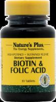 Nature's Plus Biotin & Folic Acid Tablets - 30 ct