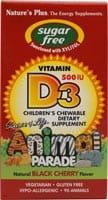 Nature's Plus Animal Parade Black Cherry Sugar Free Children's Vitamin D3 Chewable Tablets - 90 ct