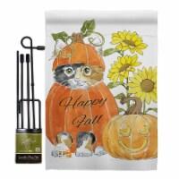 Breeze Decor BD-HA-GS-113076-IP-BO-D-US18-WA 13 x 18.5 in. Happy Pumpkin Kitty Fall Harvest &