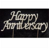 Tian Sweet 33014-HA Happy Anniversary Rhinestone Cake Topper - Silver