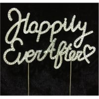 Tian Sweet 33014-HEA Happily Ever After Rhinestone Cake Toppers - Silver