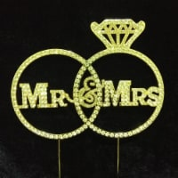 Tian Sweet 33014-MMRg Mr & Mrs with Rings Rhinestone Cake Topper - Gold - 1