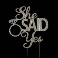 Tian Sweet 33014-SSY She Said Yes Silver Rhinestone Cake Topper - Silver