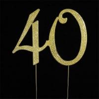 Tian Sweet 33015-40g 40th Rhinestone Cake Topper - Gold