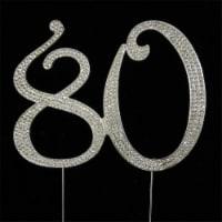 Tian Sweet 33015-80 80th Rhinestone Cake Topper - Silver