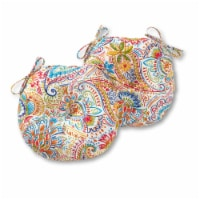 Greendale Home Fashions Painted Paisley 15'' Outdoor Bistro Chair Cushion, Set of 2 - 1