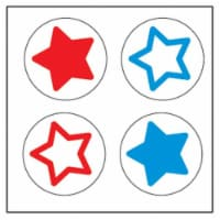 Creative Shapes Etc SE-2625 2 x 8 in. Large Incentive Stickers, Tri-Color Stars - Pack of 172