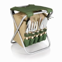 Gardener Folding Seat with Tools, Olive Green with Beige Accents - 14.5 x 12 x 17