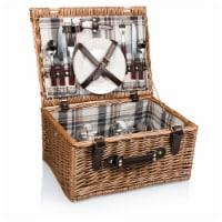 Bristol Picnic Basket, Navy Blue & Burgundy Plaid Pattern
