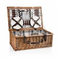 Newbury Picnic Basket, Navy Blue & Burgundy Plaid Pattern - 12.25 x 13.63 x 8.5