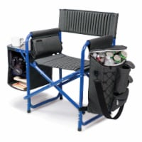 Fusion Backpack Chair with Cooler, Dark Gray with Blue Accents