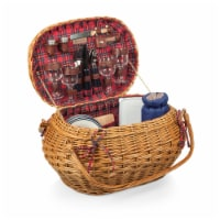 Highlander Picnic Basket, Red & Blue Tartan Pattern