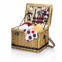 Yellowstone Picnic Basket, Brown with Beige & Red Accents
