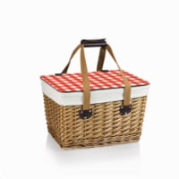 Canasta Wicker Basket, Beige Canvas with Red & White Gingham Pattern Lid - 16.5 x 11.3 x 9.8