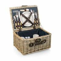 Catalina Picnic Basket, Navy Blue with Beige Pattern - 14.5 x 11.25 x 7.875