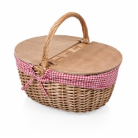 Country Picnic Basket, Red & White Gingham Pattern