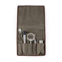 10-Piece Bar Tool Roll Up Kit, Khaki - 22.5 x 0.5 x 16