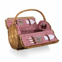 Barrel Picnic Basket, Red & White Gingham Pattern - 15 x 10 x 13