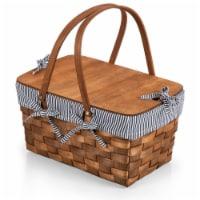 Kansas Handwoven Wood Picnic Basket, Navy Blue & White Stripe - 17.9 x 12 x 9.8